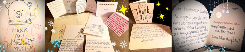 Image showing a collage of Thank You Cards Received for the Boots and Socks Program.